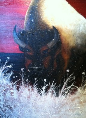 Jamie Voigt; Snow Buffalo, 2012, Original Painting Acrylic, 24 x 30 inches. Artwork description: 241  South Dakota Buffalo after snow fall  ...