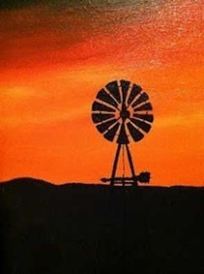 Jamie Voigt; Sunset Windmill, 2001, Original Painting Acrylic, 16 x 20 inches. Artwork description: 241  The towers of South Dakota - headstones to the pioneer farmers   ...