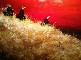 Jamie Voigt; Three Hunters, 2012, Original Painting Acrylic, 24 x 30 inches. Artwork description: 241  Sioux Hunters scouting the plains  ...