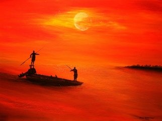 Jamie Voigt; Your Other Left, 2012, Original Painting Acrylic, 18 x 24 inches. Artwork description: 241  Fishing on the Flats in Key West FL at Sunset     ...