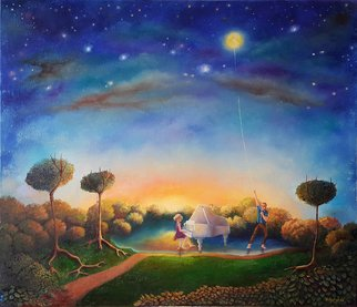 Mariia Voloshyna; Only At Night, 2016, Original Painting Oil, 70 x 60 cm. Artwork description: 241  moonwomenmanlakeskywatestartreefantasy ...