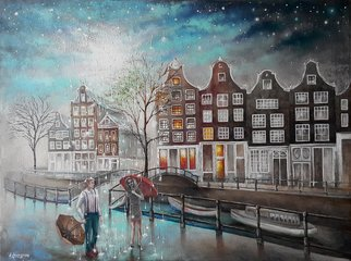 Mariia Voloshyna; Special Day, 2016, Original Painting Oil, 80 x 60 cm. Artwork description: 241  rainwomenmenskystarcityumbrella ...