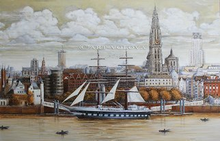 Volova Volova; Flandria, Antwerp, 2016, Original Painting Acrylic, 140 x 90 cm. Artwork description: 241  city architecture Antwerpen haven skyline...