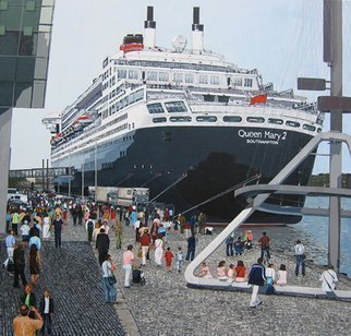 Volova Volova; Queen Mary2, 2007, Original Painting Acrylic, 135 x 130 cm. Artwork description: 241   maiden call in Rotterdam in 2004 schip cruise piepel port   ...