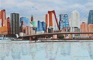 Volova Volova; Rotterdam, 2013, Original Painting Acrylic, 120 x 80 cm. Artwork description: 241          city Rotterdam Holland cruise bridge architecture              ...