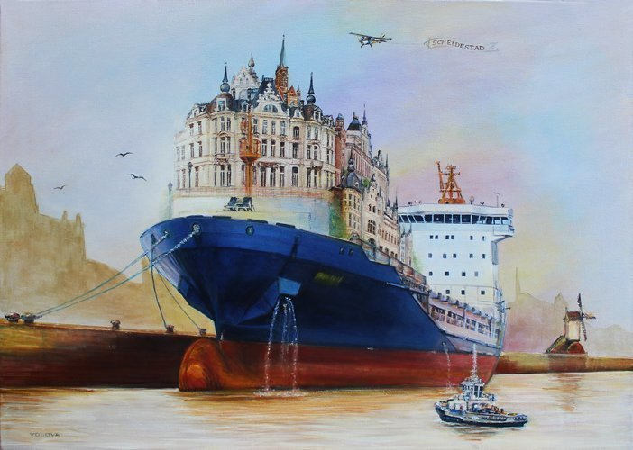 Volova Volova; Scheldestad Antwerp, 2016, Original Painting Acrylic, 70 x 50 inches. Artwork description: 241 city architecture Antwerp haven ship...