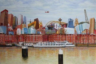Volova Volova; Noordereiland Rotterdam, 2017, Original Painting Acrylic, 120 x 80 cm. Artwork description: 241 city town place burg port architecture red acryl oilbar ...
