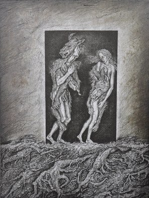 Leonid Stroganov; Adam And Eve, 2010, Original Printmaking Lithography, 28 x 38 cm. Artwork description: 241 The plot of the work is the exile from paradise ...