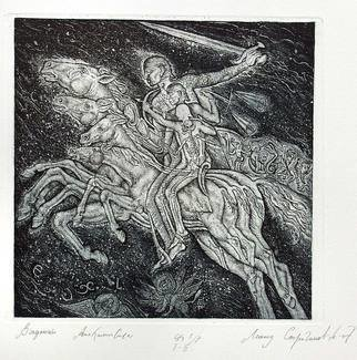 Leonid Stroganov; Horsemen Of The Apocalypse, 2007, Original Printmaking Etching - Open Edition, 8 x 8 inches. Artwork description: 241 Bible etching Apocalypse dynamics retribution fire horse horsemen ...