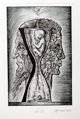 Leonid Stroganov; Janus, 2009, Original Printmaking Etching, 4 x 7 inches. Artwork description: 241 Symbolic composition, which depicts two- faced God Janus ...