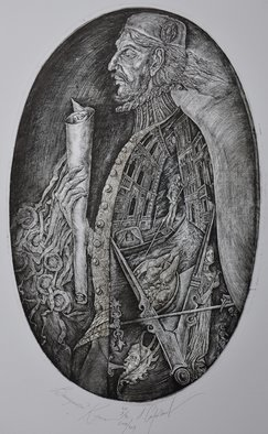 Leonid Stroganov; Merchant, 2010, Original Printmaking Etching, 13 x 18 inches.