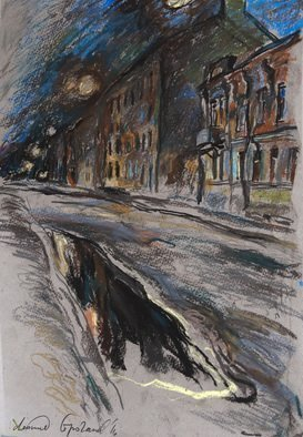 Leonid Stroganov; Night City, 2016, Original Drawing Pastel, 14 x 20 inches. Artwork description: 241 It is the view of night Russian City, St- Petersburg. This work is done an artist from nature...