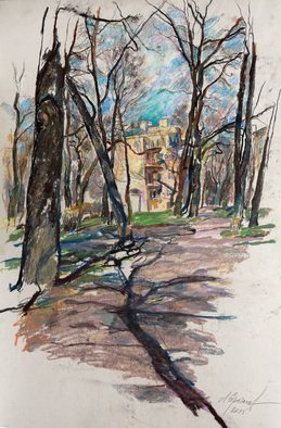 Leonid Stroganov; Spring In The Park, 2016, Original Drawing Pastel, 20 x 24 inches. Artwork description: 241 It is a spring view of the city park in St- Petersburg. It was painted on open- air. ...