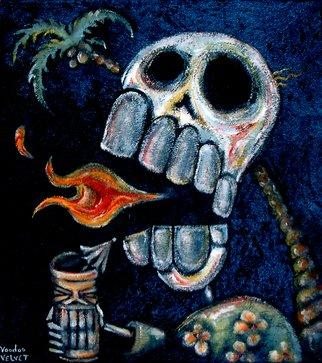 Voodoo Velvet; The Volcano, 2015, Original Painting Acrylic, 16 x 18 inches. Artwork description: 241    Acrylic painted on blue velvet, Velvet painting. Come see the bizarre, the beautiful, the surreal!One of a kind original velvet paintings, created for your enjoyment.  For more information visit: www. voodoovelvet. com         ...