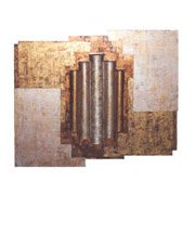 Vicki Place; Metallic, 2007, Original Mixed Media, 33 x 26 inches. Artwork description: 241 Gold metallic design with wood, cardboard and acrylic paint...