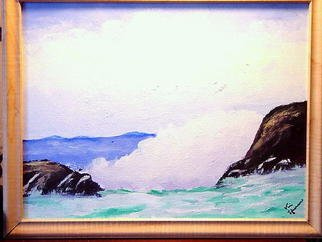 Vincent Sferrino; Raging Sea, 2002, Original Painting Acrylic, 14 x 11 inches. Artwork description: 241  This was an early work  ...