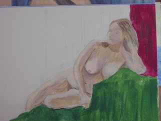 Vincent Sferrino; Reclining Woman, 2013, Original Painting Acrylic, 20 x 16 inches.