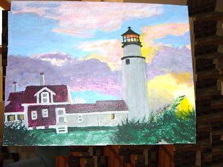 Vincent Sferrino; Skylit Lighthouse, 2003, Original Painting Acrylic, 14 x 11 inches. Artwork description: 241  Lighthouse framed by a magic sky ...