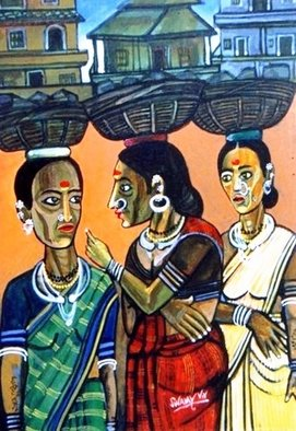 Vv Swamy; DISCUSSION, 2000, Original Painting Acrylic, 16 x 20 inches. Artwork description: 241   THE VILLAGE WOMEN ARE DISCUSSING THEIR DAILY CHORES ...