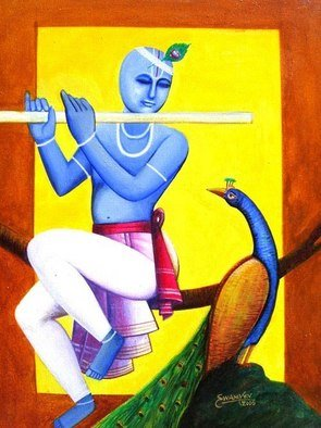 Vv Swamy; Flute Player, 2005, Original Painting Acrylic, 18 x 24 inches. Artwork description: 241  Lord Krishna is playing flute.  ...