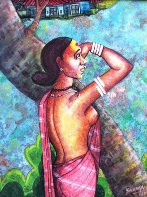 Vv Swamy; Looking For, 2000, Original Painting Acrylic, 16 x 20 inches. Artwork description: 241   A lady is looking for her lover ...