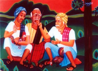 Vv Swamy; Villagers, 2000, Original Painting Acrylic, 24 x 18 inches. Artwork description: 241   villagers are spending time at the vicinity of their village ...