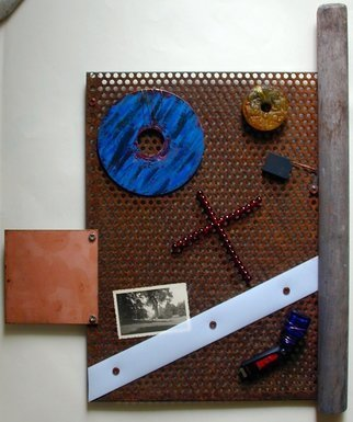 Randall Fox; REHYPOTHECATION Of The TR..., 2014, Original Mixed Media, 17 x 20 inches. Artwork description: 241 STEEL, ALUMINUM MEMORY PLATTER/ DISC, OIL PAINT, STAINLESS STEEL, GLASS, TITANIUM, WOOD, COPPER TEFLON NYLON CB, JADE BI, 16 GB FHD, CARBON BRUSH, B& W PHOTO c1931, BRASS , COPPER, GARNET BEADS. ...