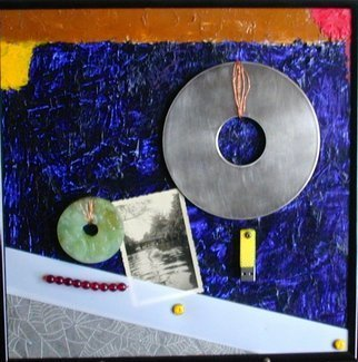 Randall Fox; UNDIFFERENTIATED AESTHETI..., 2013, Original Mixed Media, 12 x 12 inches. Artwork description: 241 OIL on MASONITE , ALUMINUM MEMORY PLATTER/ DISC, VINTAGE PHOTOGRAPH, 7GB FLASH DRIVE, STONE DISC, GARNET BEADS, TITANIUM, TEFLON, VINTAGE WAX PAPPER, COPPER, STAINLESS STEEL     ...