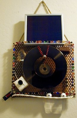 Randall Fox;  WHO IS LOOKING OVER THE ..., 2015, Original Assemblage, 12 x 24 inches. Artwork description: 241  Aluminum/ Steel/ Glass/ Titanium/ ceramic/ nylon/ copper/ stone' s/ plastic/ solar panel/ LEDs/ 64GB Flash D....