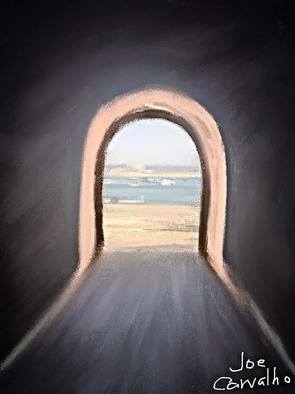 Jose Carvalho; Tunnel, 2014, Original Digital Drawing, 8.5 x 11 inches. Artwork description: 241   Ocean by S. Martinho, Portugal in 2014   ...