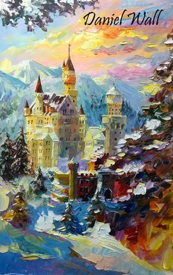 Daniel Wall; Neuschwanstein Castle at Dusk, 2015, Original Painting Oil, 19 x 30 inches. Artwork description: 241                          Naples Italy, Snowy Lake, Snow, Lake, waterfront, beach house, Portofino waterfront summer, Portofino Harbor, Italy Harbor, Italy Portofino. Italy Portaofino Sunset. Italian Sunny Day summer. Harbor morning, Harbor sunset, World famous artist painting. We Love Minnesota, Snow sunset. Canada sunset. Snowy Winter sunset. Amsterdam, Italy. Daniel Wall. ...