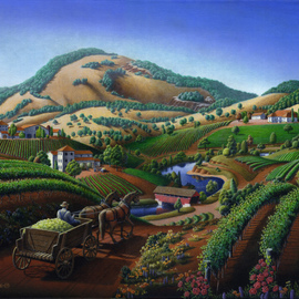 Walt Curlee, , , Original Painting Oil, size_width{Wine_Country_Landscape-1460476805.jpg} X 20 inches