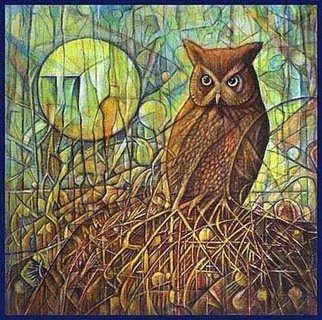 Walter Crew; gh owl, 2011, Original Collage, 24 x 24 inches. Artwork description: 241              acrylic             ...