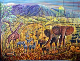 Walter Crew; walters Africa, 2011, Original Collage, 39.5 x 29.5 inches. Artwork description: 241  acrylic collage african animals scene             ...