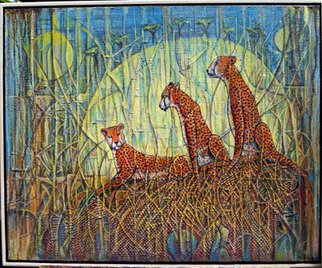Walter Crew; walters cheetahs, 2011, Original Collage, 24 x 24 inches. Artwork description: 241             acrylic            ...