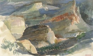 Walter King; Apache Butte, 2004, Original Watercolor, 10 x 6 inches. Artwork description: 241    It was very cold above The Flying Dutchman Saloon the afternoon I painted this. The Superstition Mtns are cold in January.  ...