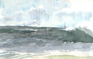 Walter King; Fenwick Wave, 2003, Original Watercolor, 5 x 3 inches. Artwork description: 241  Painted sitting on Fenwick Beach Delaware on thanksgiving break with my son Daniel who was on leave from the Air Force. We ate crabs later that day. ...