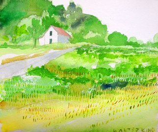 Walter King; House On the Hill, 2003, Original Watercolor, 11 x 10 inches. Artwork description: 241  One of the last of my Ohio landscapes. I am leaving for Oklahoma by the new year. ...