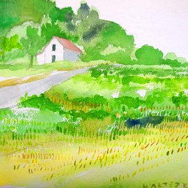 Artist: Walter King, title: House On the Hill, 2003, Original Watercolor