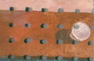 Walter King; Memory, 1997, Original Painting Oil, 6 x 4 inches. Artwork description: 241 Orange table w/ shell and dot matrix. This piece is currently part of an exhibition called WALTER KING: Midwest Dialog a 40 year retrospective at Fort Hayes Shot Tower Gallery....