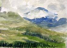 Artist: Walter King's, title: Mountain View, 2014, Watercolor