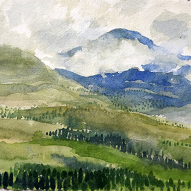 Artist: Walter King, title: Mountain View, 2014, Original Watercolor