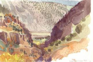 Walter King; Rio Grande Near Bandelier..., 2004, Original Watercolor, 7 x 5 inches. Artwork description: 241   On a visit to New Mexico my friend Michelle took me to Bandelier State Park to see the Cliff dwellings. We hiked around for a few miles. . . while I was painting this Michelle burned some sage....