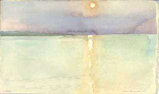 Walter King; Sunset Zadar Croatia, 1997, Original Watercolor, 7 x 5 inches. Artwork description: 241    Each day in Zadar I would hike down to the sear to paint watercolors. We were staying in an apartment belonging to the Director of the Croatian National Archive Josep Kolanovich. We'd been invited by his daughter Dubravka who is a children' s book artist. They ...