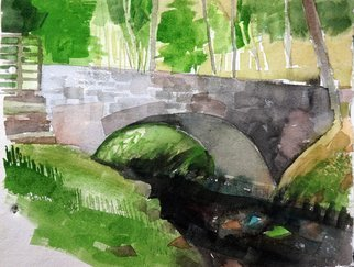 Walter King; The Bridge 1, 2014, Original Watercolor, 11 x 13 inches. Artwork description: 241    Of the Scottish Highlands, Argyle Country, during a trip to Scotland, Oban and Appin in May 2014   ...