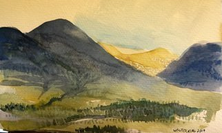 Walter King; The Highlands near Appin ..., 2014, Original Watercolor, 9 x 5 inches. Artwork description: 241   Of the Scottish Highlands, Argyle Country, during a trip to Scotland, Oban and Appin in May 2014  ...