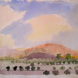 Artist: Walter King, title: Towards the Sierra Chicas, 2007, Original Watercolor