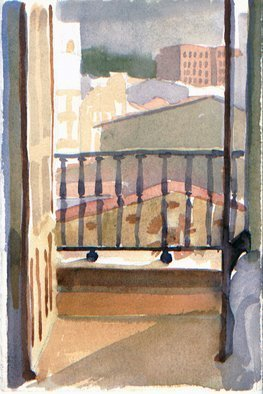 Walter King; View of Burgos , 2014, Original Watercolor, 5 x 7 inches. Artwork description: 241  My window in Burgos Spain.   ...