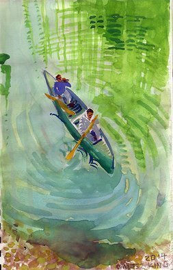 Walter King; canoe, 2014, Original Watercolor, 7 x 10 inches.