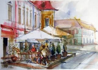 Sipos Lorand; Cafe Shop On The Street, 2010, Original Watercolor, 42 x 29 cm.